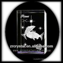 K9 3D Laser Crystal Pisces Inside