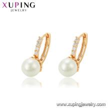95132 xuping diseño de lujo pendiente de oro, al por mayor pendiente de perla blanca nuevos modelos pendientes de aro de oro