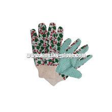Luva de jardim de algodão de pulso de malha pontilhada PVC leve (2620)