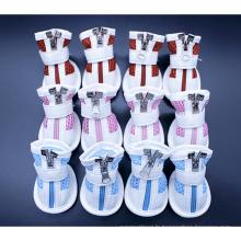 Semelle en caoutchouc antidérapante Yorkie chiot chien hiver chaussures en maille bottes 4pcs par paire