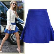 Boutique autumn women plus size party dress chiffon tail skirt royal bule high waist skirts women