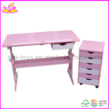 Wooden Children Furniture Set - Adjustable Desk and Cabinet (W08G077)