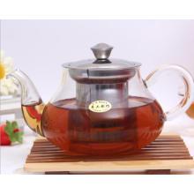 Pote de té de cristal personalizado con infusión de acero inoxidable