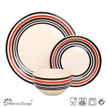 Handpainted Color Circle Stoneware Dinner Set