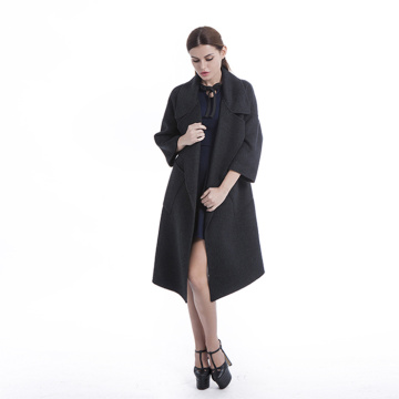 Giacca a vento nera lunga in cashmere
