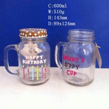 600ml Glass Jars Drink Cup with Metal Cap