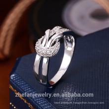 Anillo de dedo doble de la capa doble de la nueva de la joyería de las mujeres de la llegada con la piedra preciosa