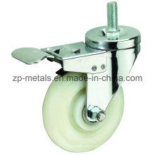 3inch blanc roue de roulette à vis PP avec frein