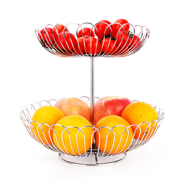 Fashion Design Household Kitchen Handmade Stainless Steel Wire Storage Bowl Healthy Vegetable Basket