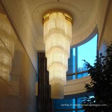 Lumière pendante menée par cristal de lobby adaptée aux besoins du client de conception de luxe