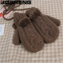 Women′s Super Thick Warm Knitted Gloves Mitten with Fur Pompom