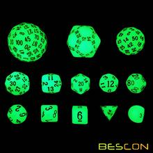 Bescon Super Glowing in Dark Complete Polyhedral RPG Dice Set 13pcs D3-D100, Luminous 100 Sides Dice set