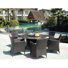 Table de salle à manger ronde de meubles en rotin extérieur HD Designs