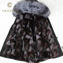Vente chaude fourrure d'hiver garniture parka femmes avec doublure de fourrure