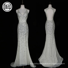 High quality latest backless floor length sexy ladies dinner dresses