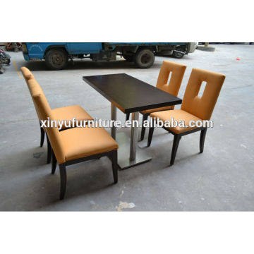 Walnut table top with stainless steel based +4pcs restaurant chair(XY0705)