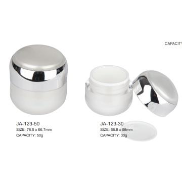 Tarro cosmético arcylic metalizado de doble capa con tapa redonda