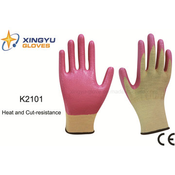 13G Meta-Aramid Fibre Nitrile Coated Heat and Cut Resistance Safety Work Glove (K2101)
