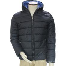 Shenzhen-Winter-windundurchlässiges thermisches Polyester / Baumwolle gepolsterter Kapuzenpulli-blaue Freizeit-Außenjacke