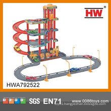 Hot Sale Plastic Children's Parking Garage Toy(with 4 metal cars)