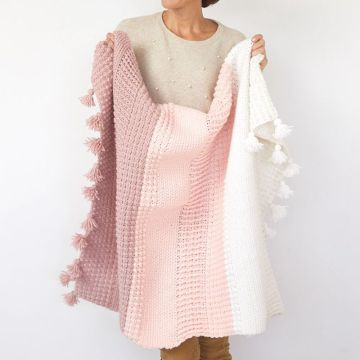 Couverture Carrée 100% Coton Rose Crochet Blanc