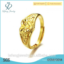 Hand made high polished size adjustable gold plated copper wedding heart rings
