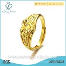 Mão feita alta polido tamanho ajustável ouro banhado a cobre anéis de casamento coração