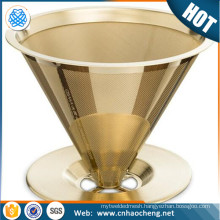 18/8 gold stainless steel coffee drip for coffee brewing