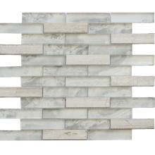 Interior Wall Back-Splash White Glass and Stone Mosaic Tile