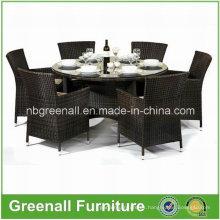 Rattan mesa de comedor redonda y silla conjunto