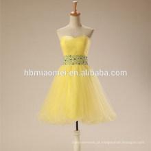 2017 nova moda alibaba cor amarela tule vestidos formais vestido de noite na china