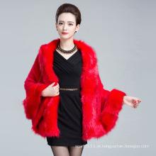 Senhora fashion faux fur inverno malha xale (yky4457)