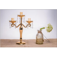 Porte-bougie couleur d'or pour décoration de mariage avec trois affiches
