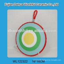 Hot sale fresh design ceramic pot mat with rope