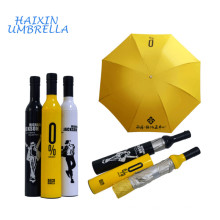 Wedding Return Gift New Fashionable 21inch Promotional Advertising Wine Bottle Rain Umbrella Plastic Cover for Corporate Giveway