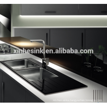 Promotional Glass Tempered Stainless Steel SUS 304 Topmounted single bowl kitchen sink