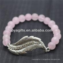Vente en gros Diamante Feather avec 8MM Semi Precious Stone Stretch Bracelet