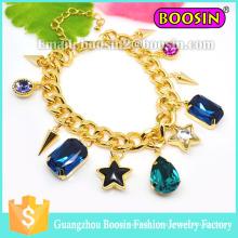 Bijoux Shamballa personnalisés Bracelet en chaîne en or avec breloque en pierres précieuses pour femmes