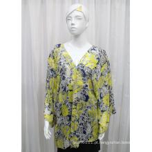 Lady Moda Paisley Impresso Poliéster Chiffon Primavera Silk Camisa (YKY2216)