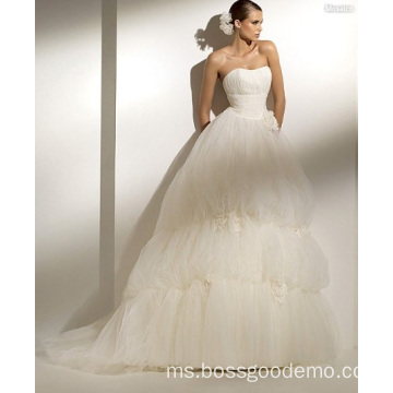 Ball Gown Scoop Neck Strapless Chapel Train Benang Gaun Pengantin Bunga Buatan Tangan