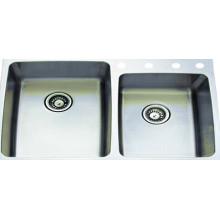 Inox duplo tigela cozinha lavatório (ktd3322d)