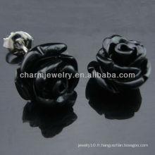 925 Boucles d'oreilles en argent sterling plaqué or Rhodium plaqué or rose Boucles d'oreille en étain colorées EF-026
