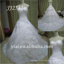 JJ2531 Newest Free Shipping Beaded Hand made Flower Organza Ball Gown Wedding Dress 2011
