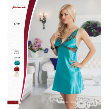 Hot Sexy Turquoise Satin Nightdress Lingerie Underwear