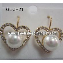 pendientes de perla de la cáscara de forma de corazón
