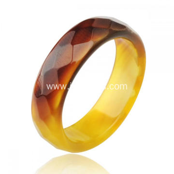 Fashion Natural 6MM Yellow Agate Gemstone Faceted Women Rings