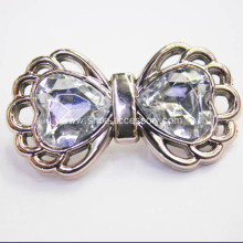 Gold Tone Metallized Plastic Bow Clips Heart Diamond