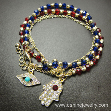 Multilayer Crystal Beads Chain Hamsa Evil Eye Charm Bracelet