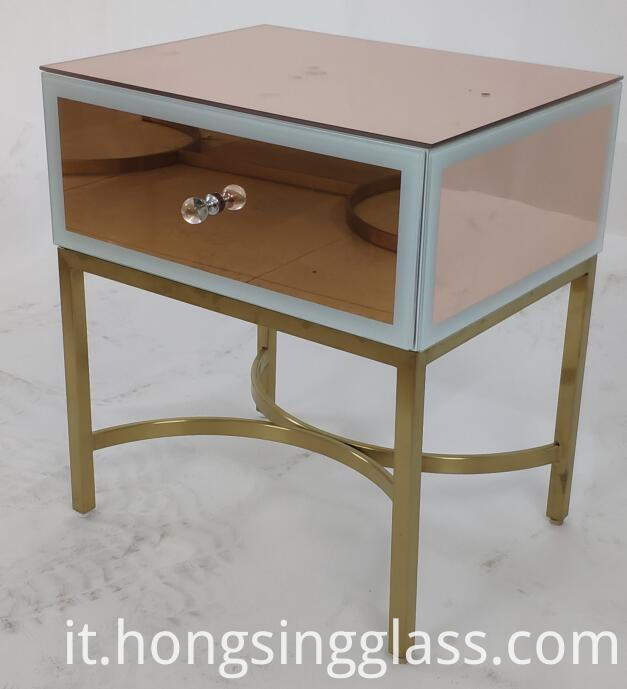 Rose Gold 1 Drawer Bedside Mfrs 001
