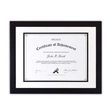 Classical 11x14 Custom Black Certificate with Double Mat and Vertical and Horizontal Hanging Diploma Photo Frame Wholesale
